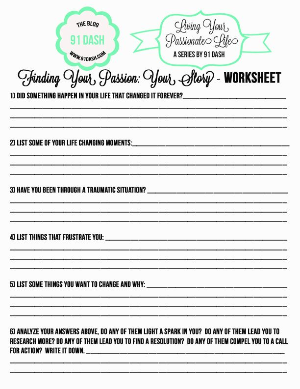 Finding Your Passion Work Sheet Printable Find My Passion Passion Work Finding Yourself