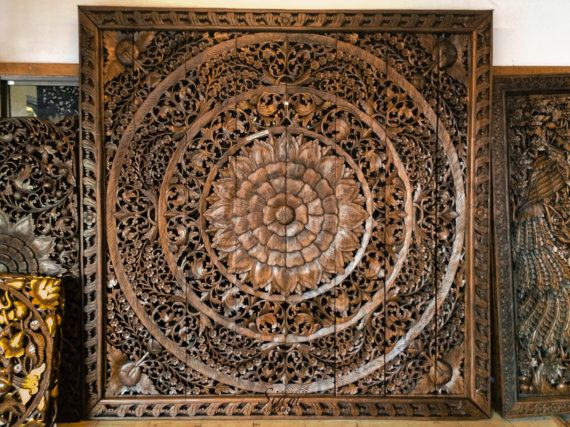Large Carved Wood Panel Teak Wood Wall Hanging Decorative Balinese Traditional Lotus Flow Carved Wood Wall Art Carved Wood Wall Panels Decorative Wall Panels