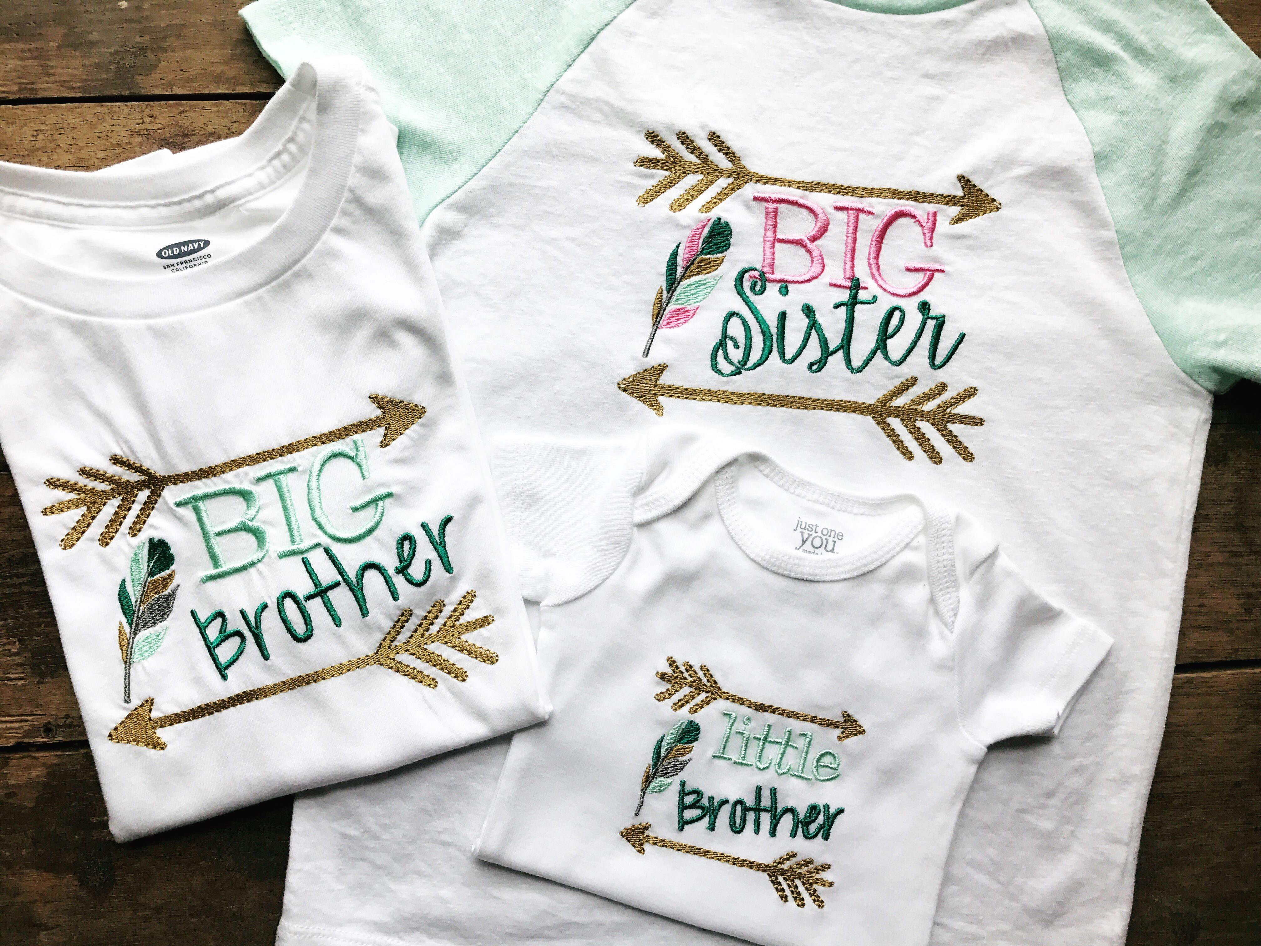 Sibling T Shirt Set Tribal With Arrows And Feathers Big