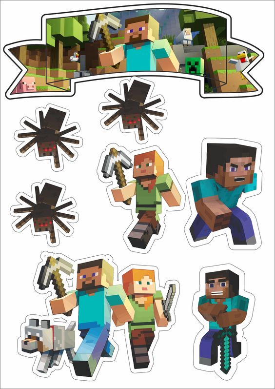 Enjoyable Minecraft Party Free Printable Cake Toppers Tort Minecraft Birthday Cards Printable Giouspongecafe Filternl