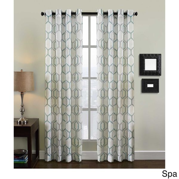 Richloom Home Fashions Grafton Geometric Print Grommet Top Curtain Panel Natural 63 Neutral Size 50 X
