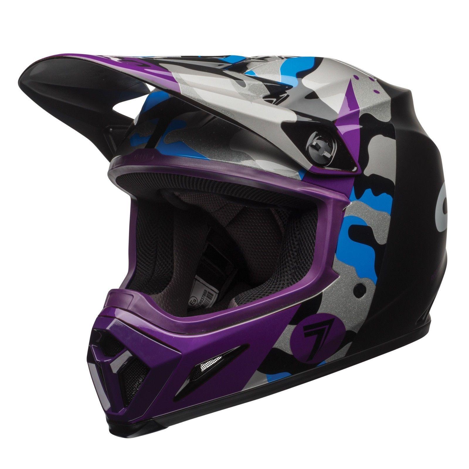 Bell 17 Ece Seven M9 Mips Soldier Matte Purple Blue Mx Helmet Dirt Bike Off Road Helmet Dirt Bike Bell Helmet