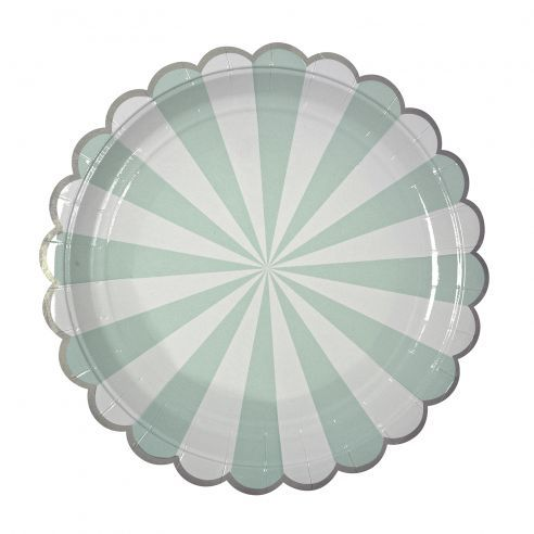 Meri Meri Aqua Stripe Large Party Plates from the Toot Sweet Range.  sc 1 st  Pinterest & 8 assiettes carton rayons menthe - 23cm - plates mint - mermaid ...