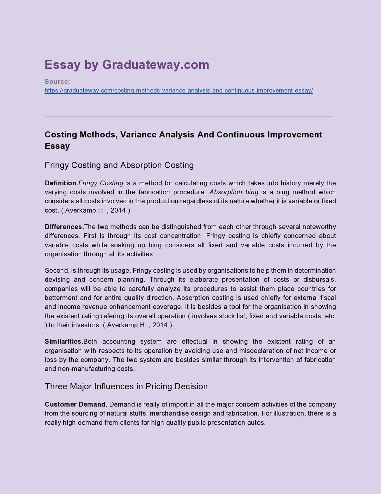 Variance analysis example for free essay free database