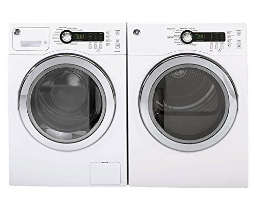 "GE White Compact Front Load Laundry Pair with WCVH4800KWW 24"" Washer and DCVH480EKWW 24"" Electric Dryer in White"