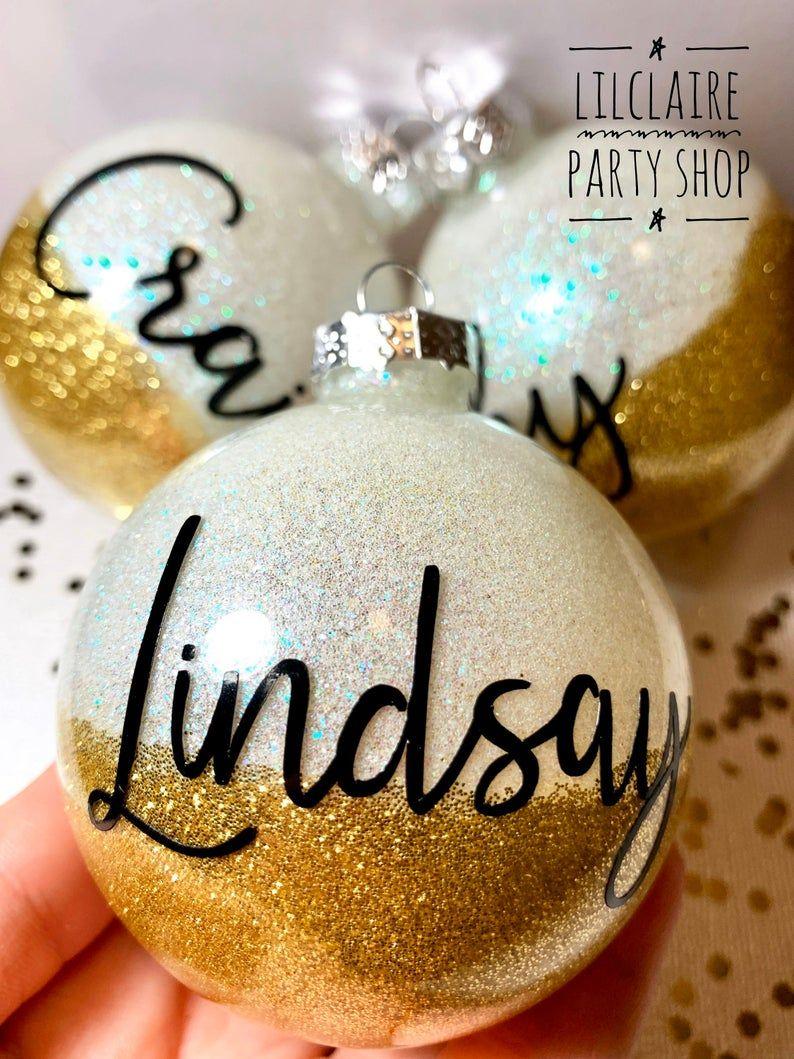 Name Christmas Ornament Glitter Ornaments Bride Ornament Etsy Clear Christmas Ornaments Christmas Crafts For Gifts Glitter Ornaments Diy