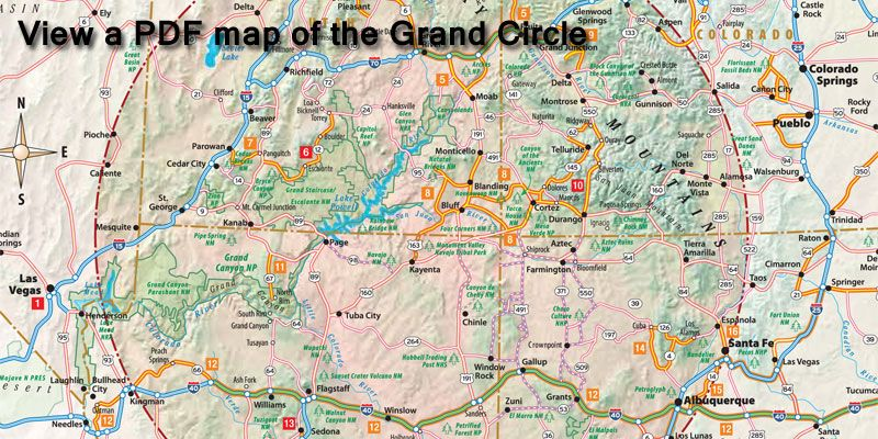 The Grand Circle is located in the SW US portions of AZ NM CO UT