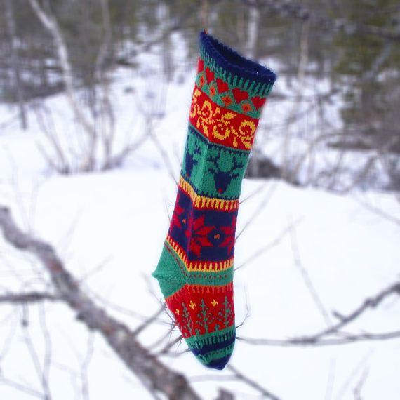 Wool Christmas Stocking Hand Knitted, Hearth Decor, Norwegian ...
