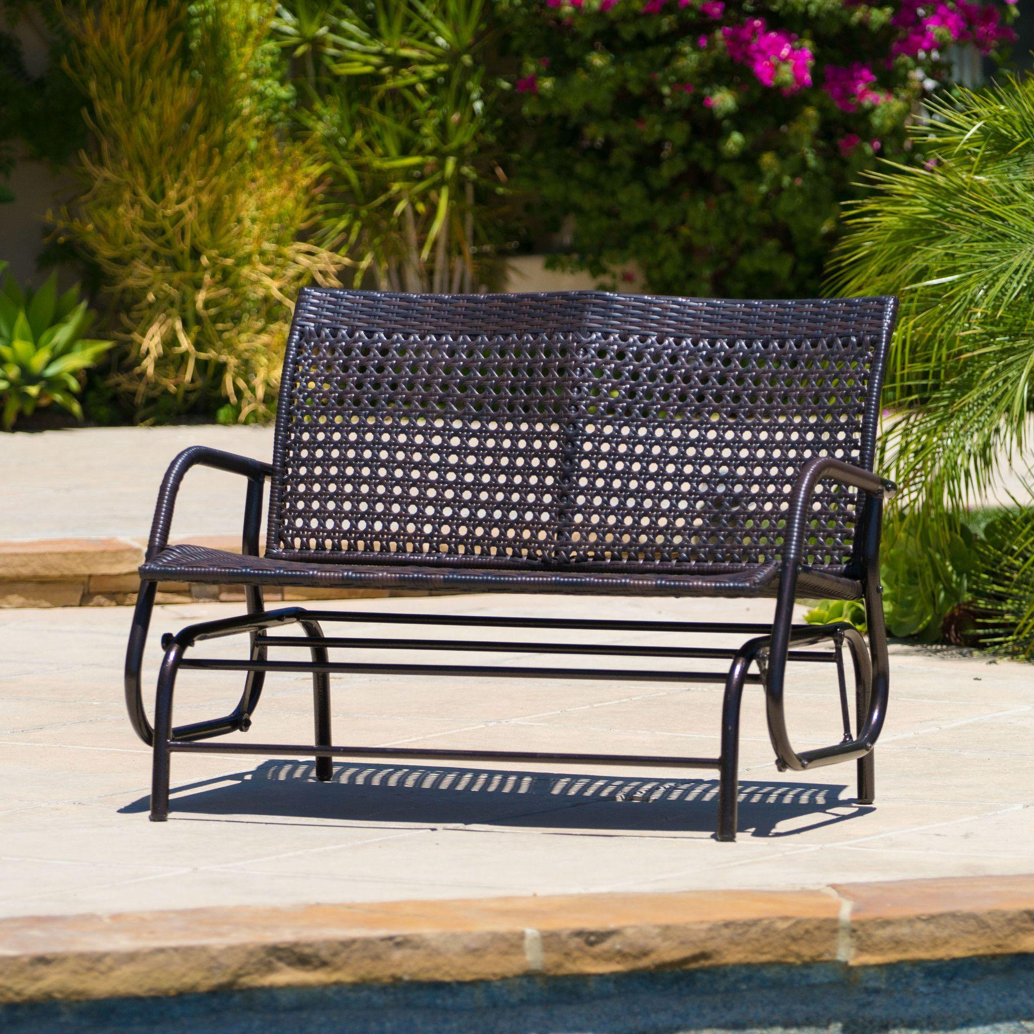 Burbank Outdoor Brown Wicker Glider Bench Outdoor Glider Metal Outdoor Furniture Outdoor Loveseat