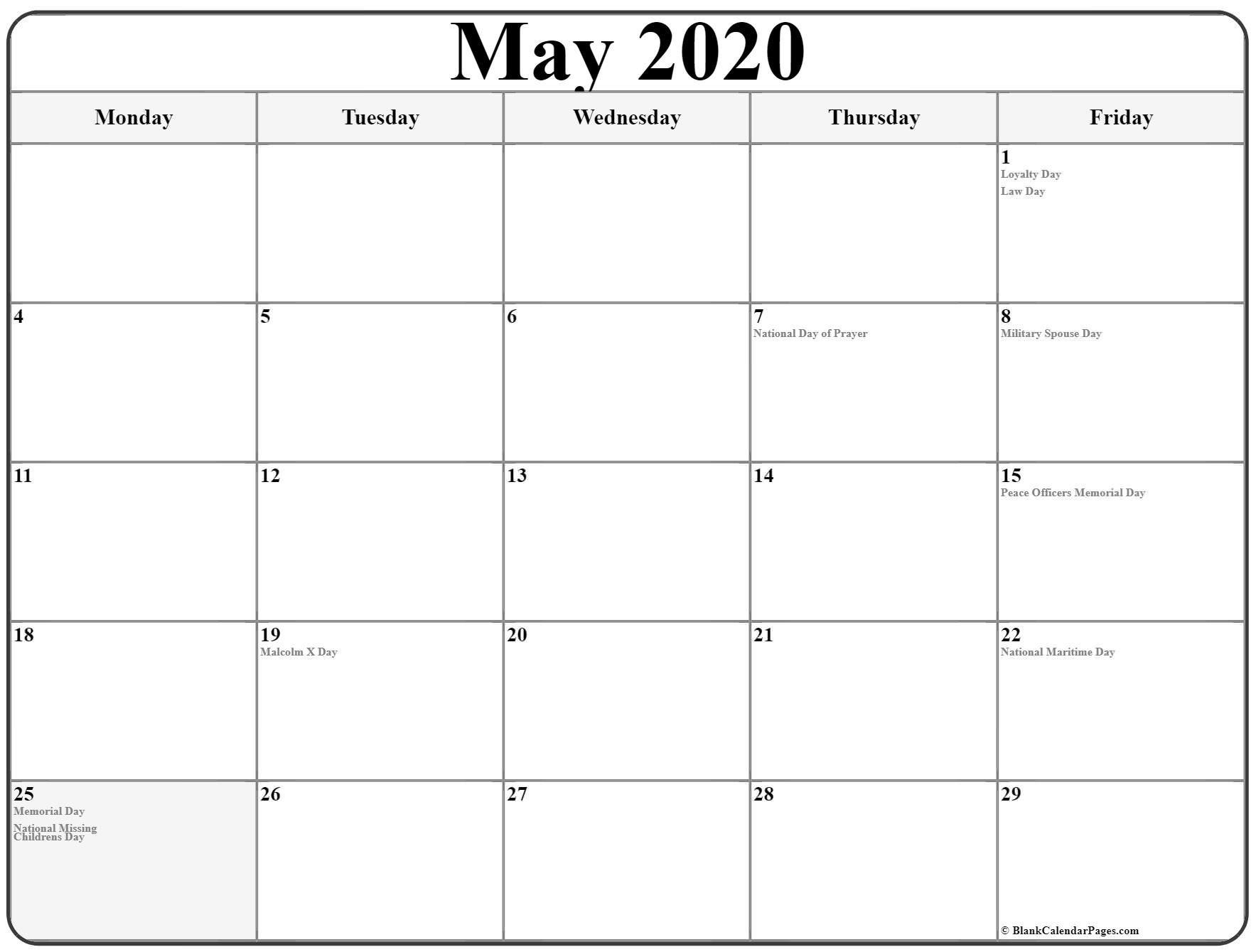 Monday Thru Friday Calendar 2020 Printable Yearly Calendar Template Free Calendar Template Yearly Calendar