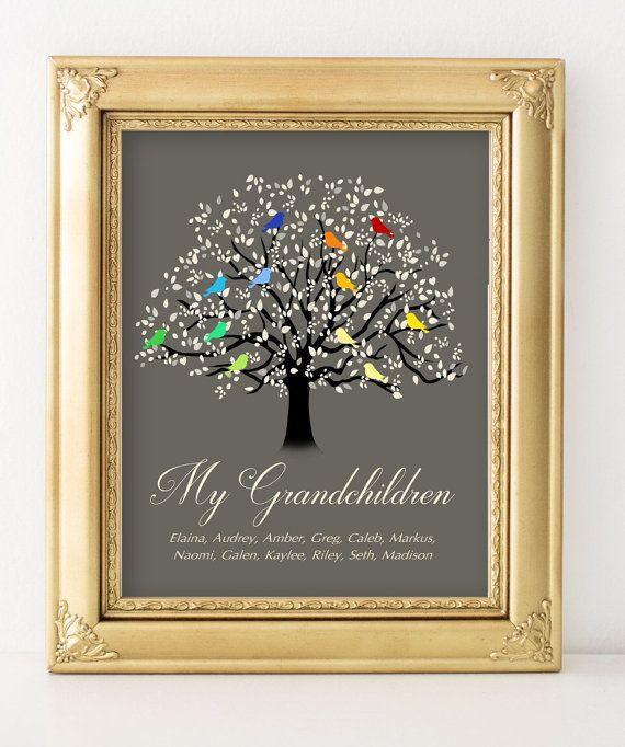 Grandchildren gifts for grandparents grandchildren names print Custom family tree wall art Personalized family gifts