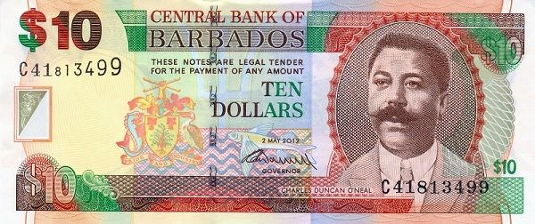 Barbados 10 Dollars Bill