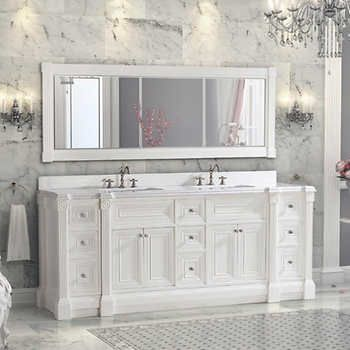 84 inch White Finish Double Sink Bathroom Vanity Cabinet with Mirror, Solid  hardwood construction, Soft-closing doors, Swarovski Crystal hardware