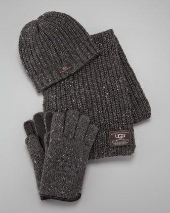 Ugg Australia Hat Scarf Gloves Box Set Gray Australia Hat Knitted Gloves Uggs