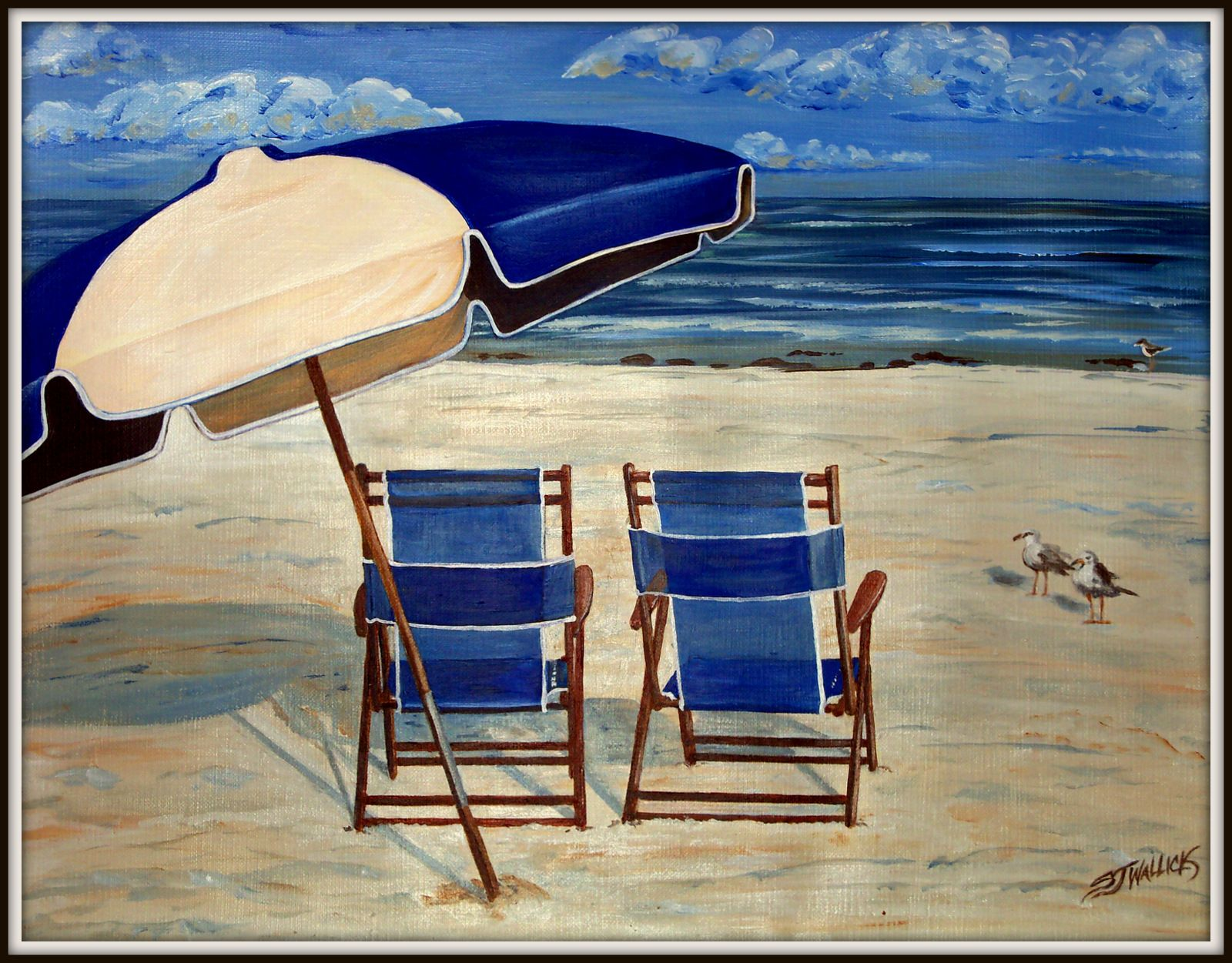Beach chairs on the beach painting - Beach Chair With Umbrella Painting