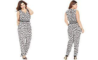 Soprano Plus Size Sleeveless Printed Jumpsuit