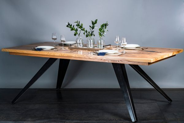 Ash Table Top With Skirt Angled Metal Legs Steel Dining Table