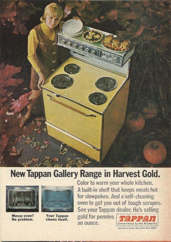Tappan Gallery Range Original 1968 Vintage Print Ad Color Photo Harvest Gold Oven Stove Major Appliance Appliance Shop Tappan Appliances