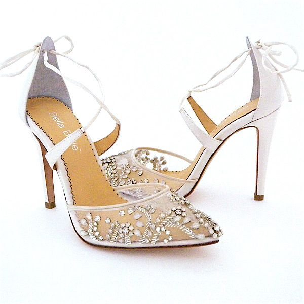 aaa49b96937df Florence Crystal Beaded Wedding Shoes designed by Bella Belle. Stunning beaded  wedding shoes with clear   white opal crystals on ivory silk.