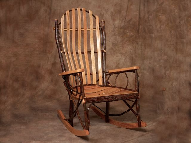 Rustic Rocker Amish Wide Back Bent Wood Oak Hickory Rocking