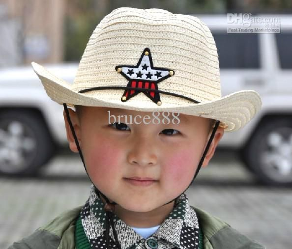Fünfzackigen Stern Kinder Strohhut Cowboy Kappe, Babysonnehüte ...