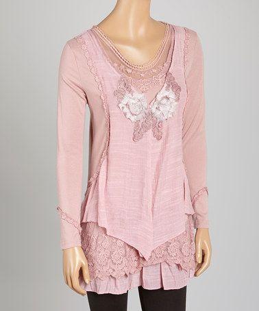 Loving this Mauve Layered Linen-Blend Tunic on #zulily! #zulilyfinds