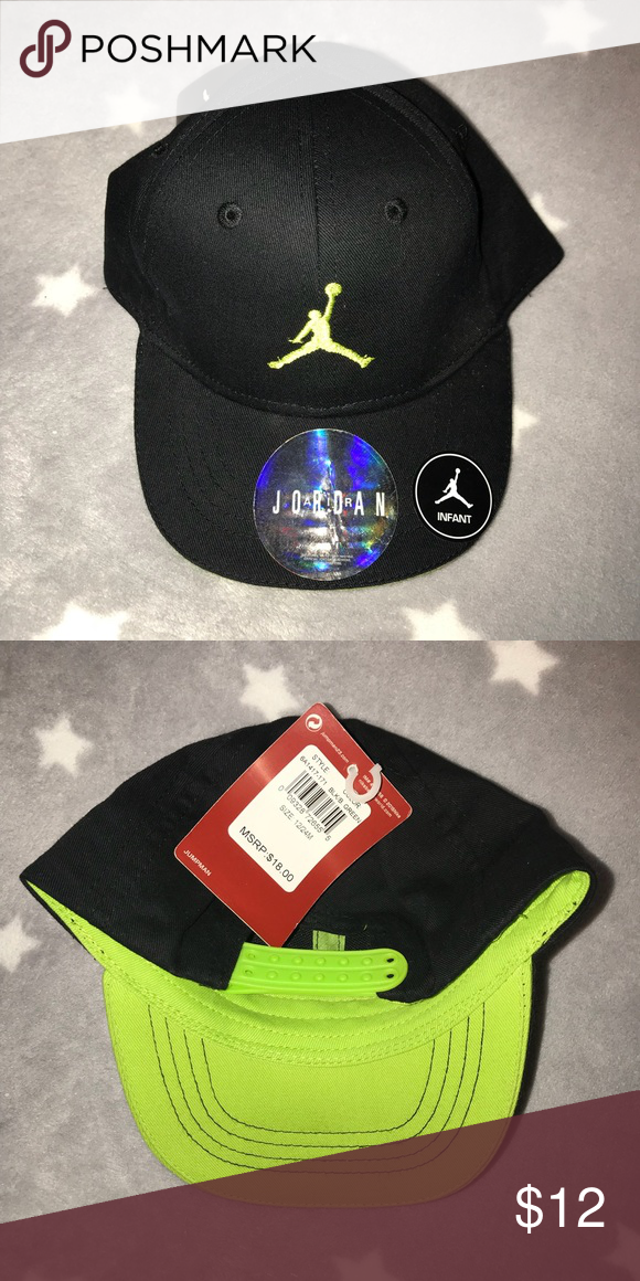 4e342dfdc1f Baby Jordan Snapback Jordan snapback for baby. Never worn and tag is  attached. Black with a green Air Jordan symbol Jordan Accessories Hats