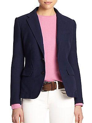 Polo Ralph Lauren Knit Cotton Blazer Young Woman S Basic Wardrobe Passport Clothes Items Cotton Blazer Blazer Jackets