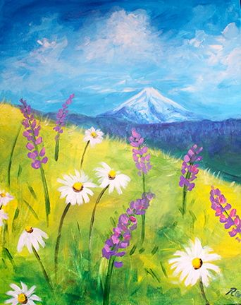 Wine Canvas Easy Landscape Paintings Wildflower Paintings Mountain Painting Acrylic