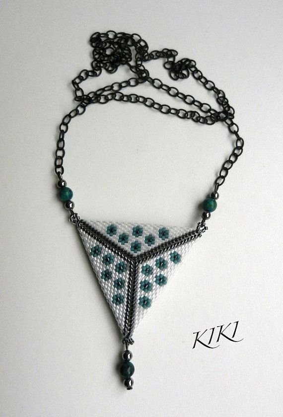 Beaded double sided peyote triangle pendant