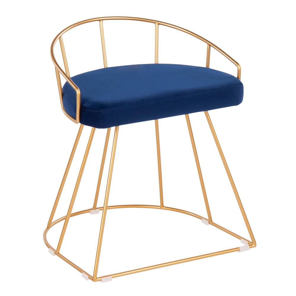 Fantastic Lumisource Canary 18 In Gold Vanity Stool With Blue Velvet Creativecarmelina Interior Chair Design Creativecarmelinacom