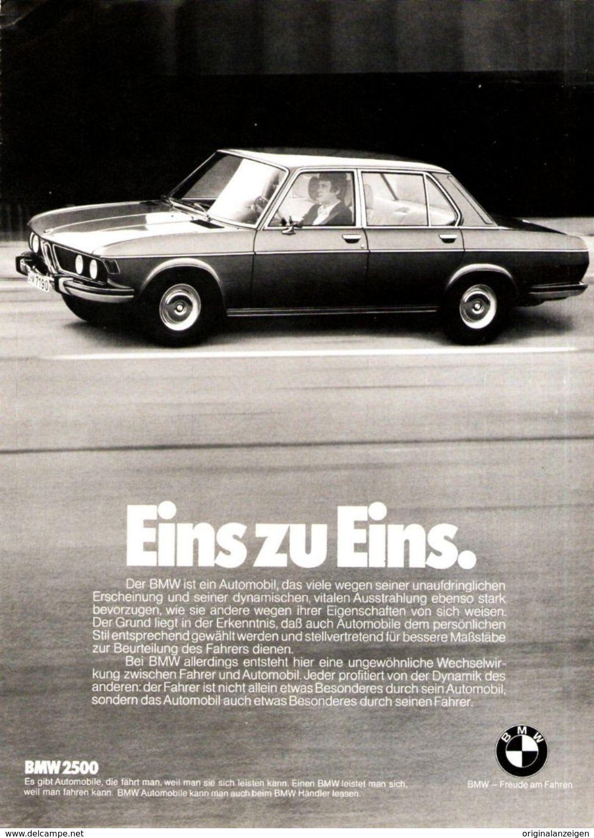 Original Werbung Anzeige 1974 Bmw 2500 Ca 180 X 240 Mm Werbung Reklame