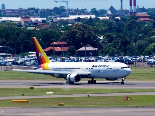 Air Pacific 767 at Sydney  Type: Boeing 767-3X2/ER  Registration: DQ-FJC  Location: Kingsford Smith International  Date: 27/11/2011