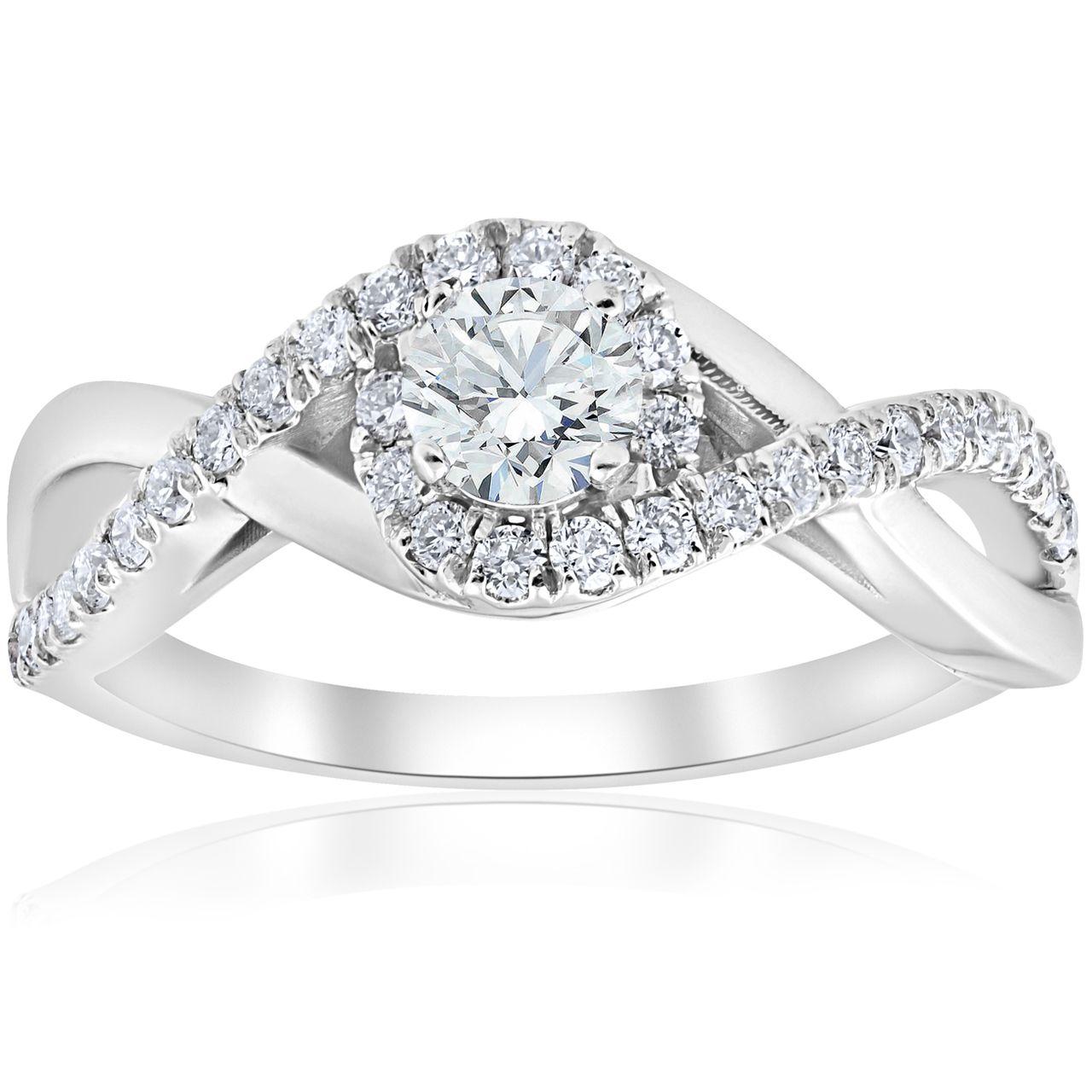 1 cttw Diamond Halo Infinity Engagement Ring 10k White