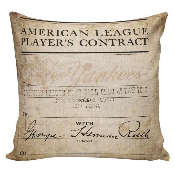 Baseball Pillow Babe Ruth New York Yankees Burlap Cotton