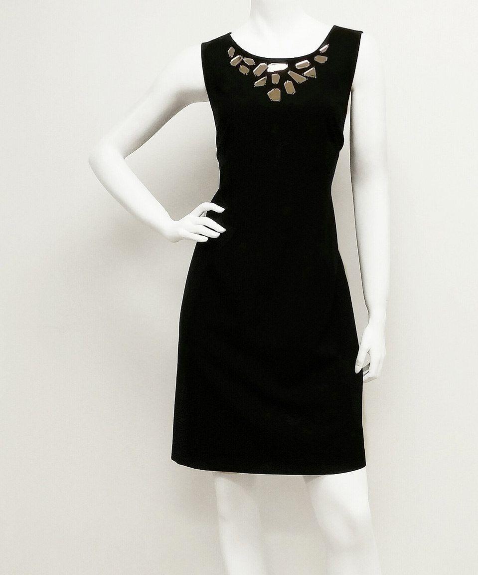 Loving this Black Mirror Geometric-Neckline Dress - Women on #zulily! #zulilyfinds