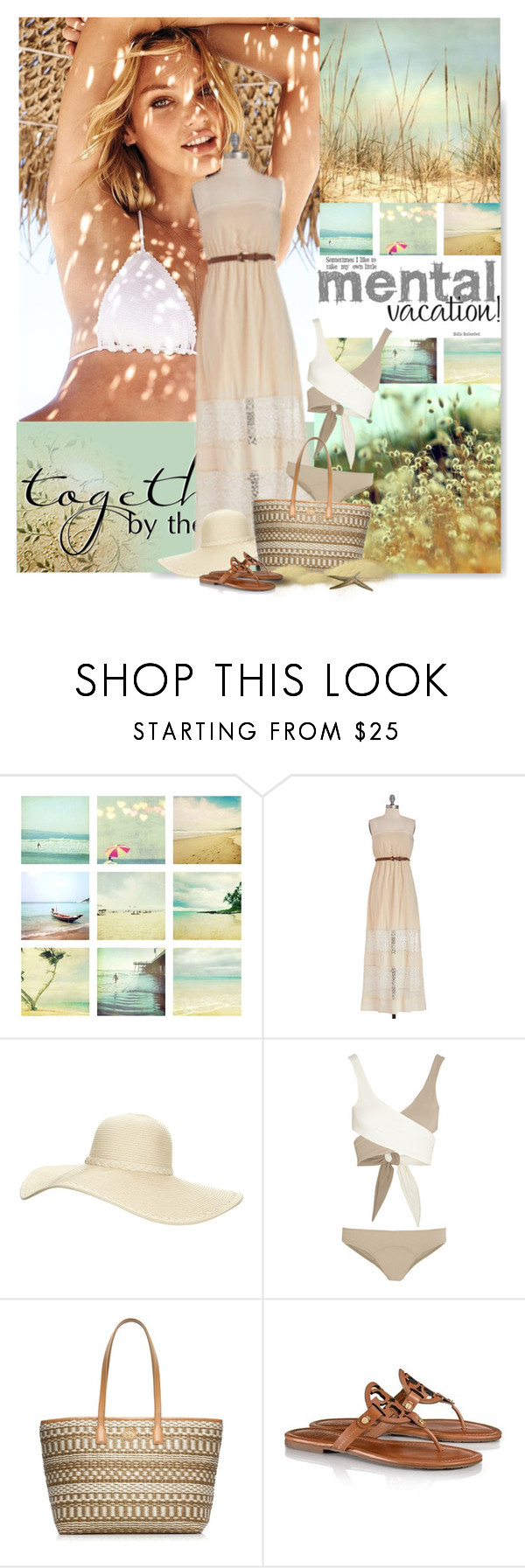 """""""1079"""" by serepunky ❤ liked on Polyvore featuring Victoria's Secret, Reger by Janet Reger, Lisa Marie Fernandez, Tory Burch, hat, maxidress, beachwear, candicecwanepoel and raffiabag"""