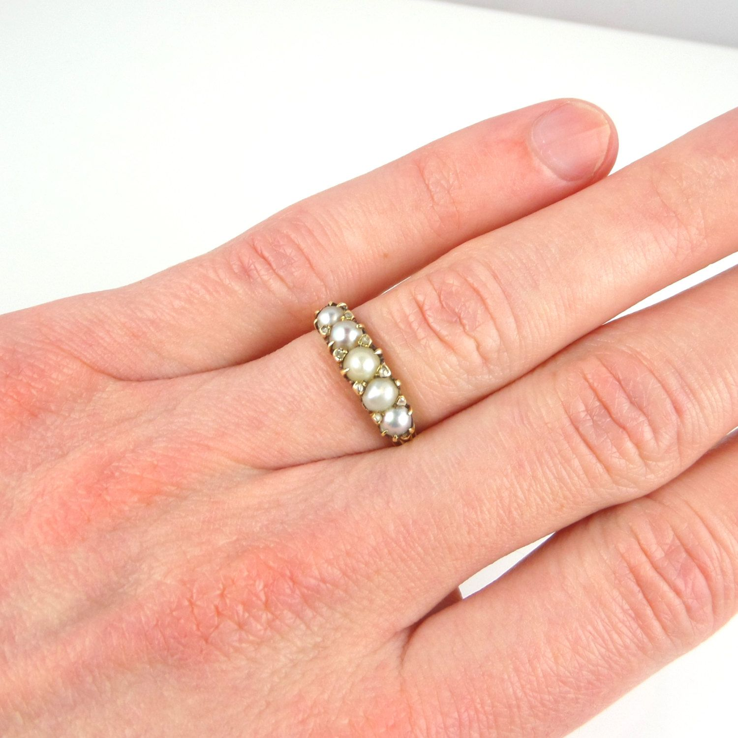 Victorian Pearl Diamond Ring In 18ct Gold Antique Pearl Ring