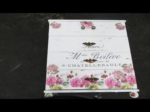how to Decoupage Furniture with a 7$ poster, CeCe Caldwell Paint and a Thrift Store Dresser - YouTube