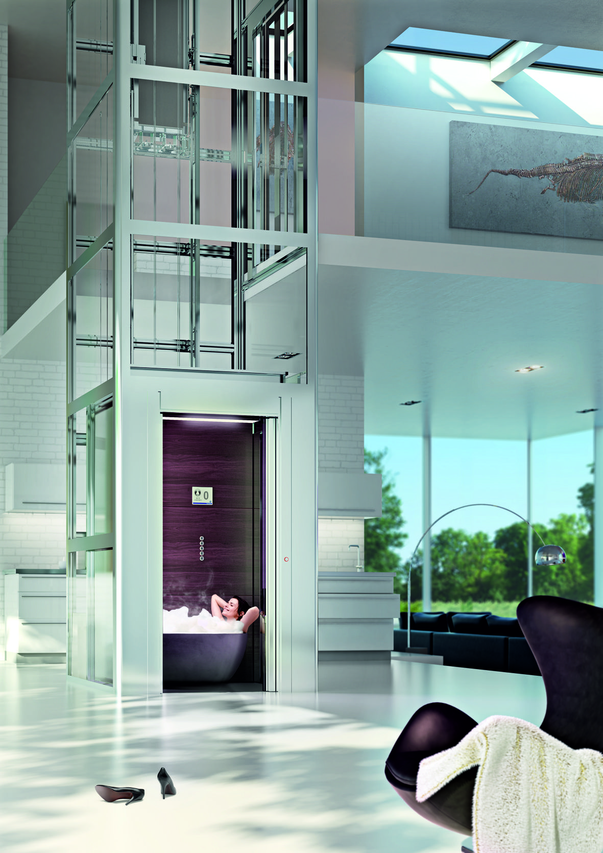 thyssenkrupp encasa he 7 home elevator glass elevator. Black Bedroom Furniture Sets. Home Design Ideas