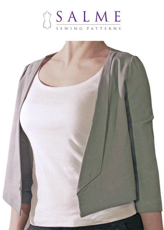 PDF Sewing pattern - Cropped blazer | To do | Pinterest | Erwachsene ...