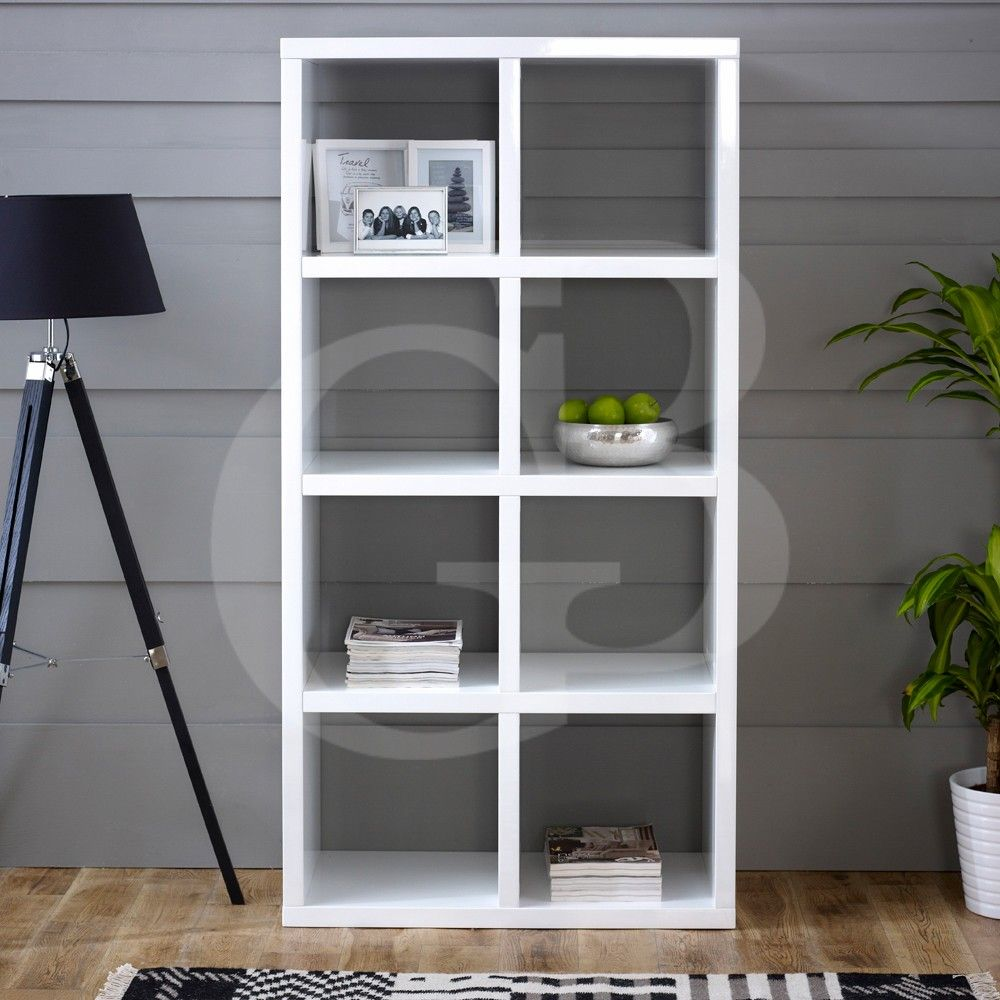 GW18 - High Gloss 8 Square Wide Shelving Unit in White - Bookcases ...