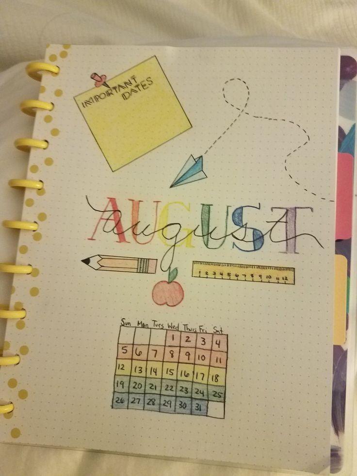 Back to school month of August cover for bullet journal #septemberbulletjournalcover