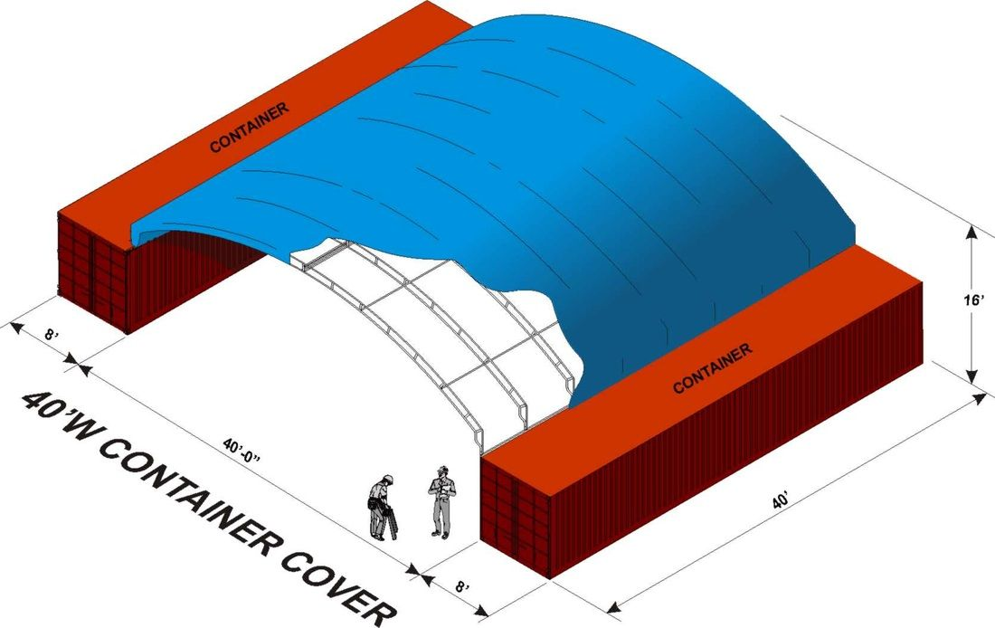 Shipping Container Cover Gallery By American Covers Shows A Roofing System Between Two Conex Containers For An Ins Shipping Container Conex Container Container