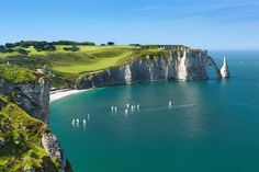 Étretat Cliffs is France's answer to England's White Cliffs of Dover. It has tall white cliffs with arches that jut out into the English Channel in Upper Normandy.