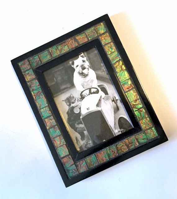 Green Bronze Mosaic Picture Frame, Iridescent Van Gogh Glass Frame, Green Black Picture Frame, 3.5 x 5 Photo Frame, Amethyst Purple Frame
