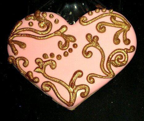 One Dozen Gilded Heart Sugar cookies Wedding favor Chocolate or Vanilla. $38.00, via Etsy.