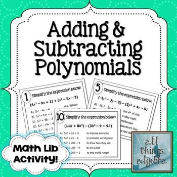 Adding and Subtracting Polynomials Math Lib | Adding ...