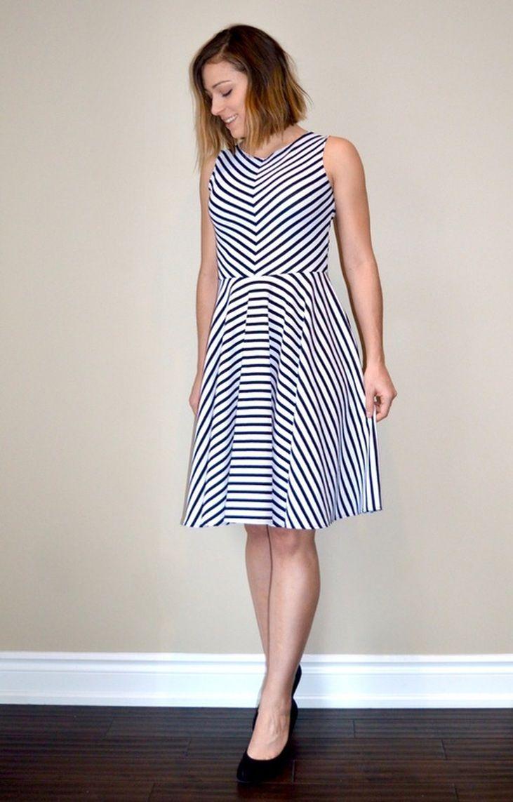 Free Sewing Pattern Striped Dress Tutorial Pattern Dress Women Dress Patterns Free Dress Patterns