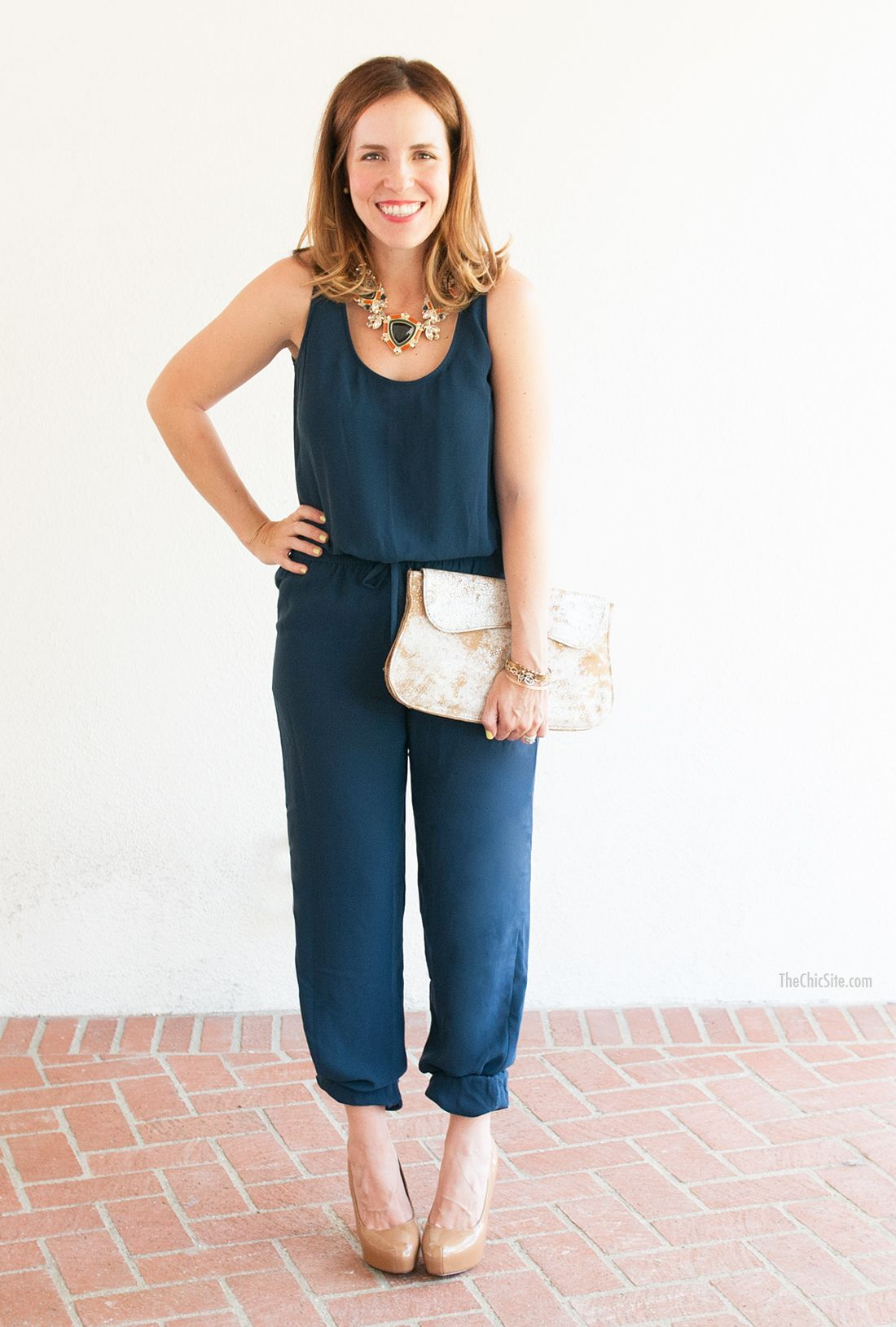f0b024a309  Cabi - Rachel Hollis of The Chic Site dressed our French Navy Jumpsuit up  and down. Click to get the details.